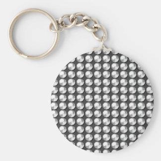 NVN1 Sparkle Black n White BNW Gems by NavinJOSHI Basic Round Button Key Ring