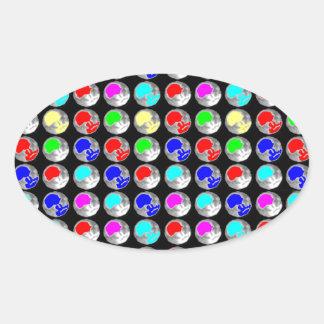 NVN5 NavinJOSHI Art Blue Red COLORFUL Sparkles Oval Sticker