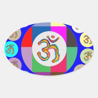 nvn94 OM Mantra Chant Yoga Meditation navinJOSHI 1 Oval Sticker