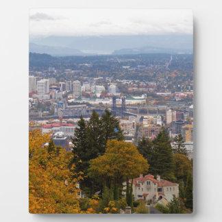 NW and NE Portland Cityscape during Fall Season Plaque