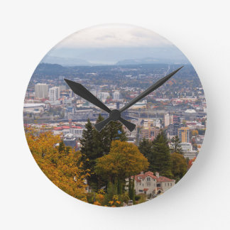 NW and NE Portland Cityscape during Fall Season Round Clock