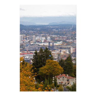 NW and NE Portland Cityscape during Fall Season Stationery