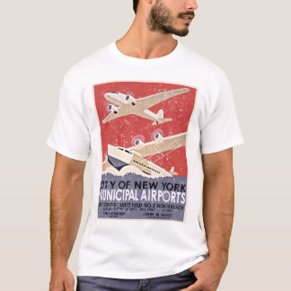 NY Airports Vintage Poster - c 1930 - distressed T-Shirt