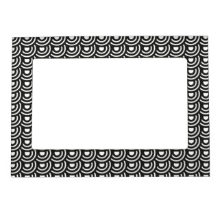 NY Art Deco Metropolitan Modern Black and White Photo Frame Magnets