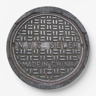 NY City Sewer Cover & Asphalt Funny Novelty Party Paper Plate