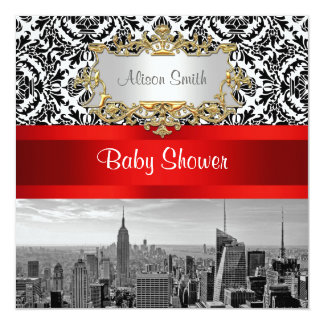 NY City Skyline BW 432 Damask Baby Shower Invite