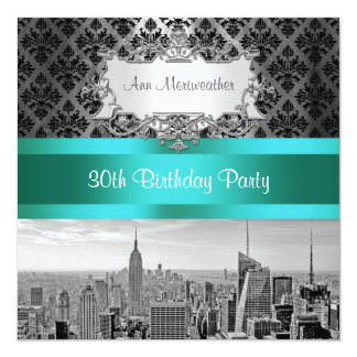 NY City Skyline BW B3 Damask Birthday Party Invite