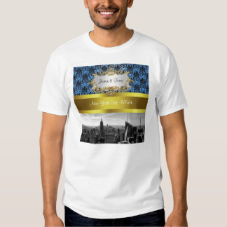 NY City Skyline BW Black BlueDeco Damask Inv Suite T-shirts