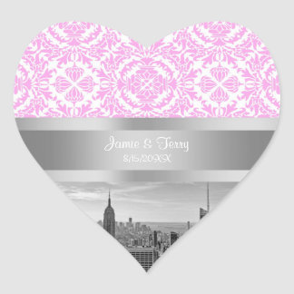 NY City Skyline BW D4P Pink White Damask Heart Sticker