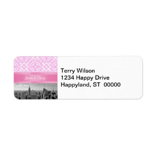 NY City Skyline D4P Pink Damask Return Address Return Address Label