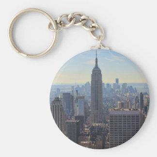 NY City Skyline Empire State Building, World Trade Basic Round Button Key Ring