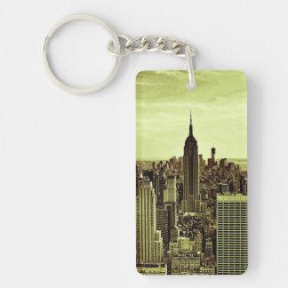NY City Skyline Empire State Building, WTC 6 Double-Sided Rectangular Acrylic Key Ring