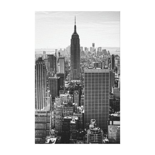 NY City Skyline Empire State Building, WTC BW Canvas Print