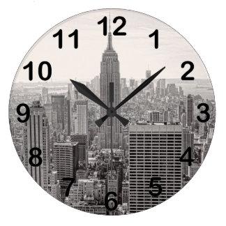 NY City Skyline Empire State Building, WTC BW Clock