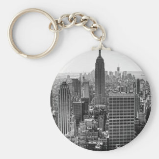 NY City Skyline Empire State Building, WTC BW Basic Round Button Key Ring