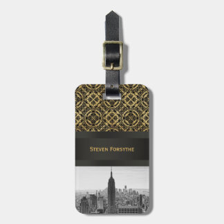 NY City Skyline Empire State Building, WTC BW Luggage Tag