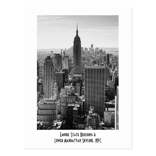 NY City Skyline Empire State Building, WTC BW Post Cards