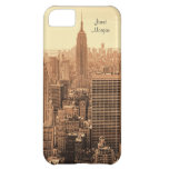 NY City Skyline Empire State Building, WTC Sepia