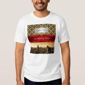 NY City Skyline Sepia B4 Damask T-Shirt