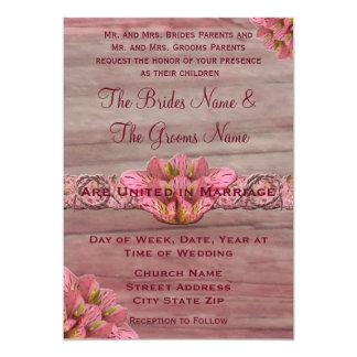 NY Pink Rustic Lily Wedding Invitation