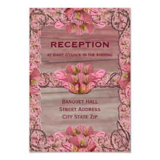 NY Pink Rustic Lily Wedding Reception 9 Cm X 13 Cm Invitation Card