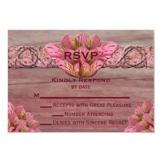 NY Pink Rustic Lily Wedding RSVP 9 Cm X 13 Cm Invitation Card
