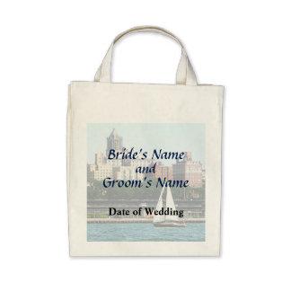 NY - Sailboat Against Manhattan Skyline Wedding Bags