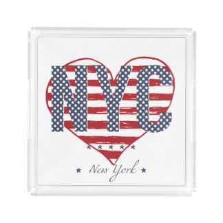 NYC American Flag Heart Acrylic Tray