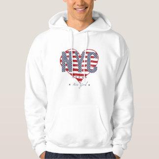 NYC American Flag Heart Hoodie