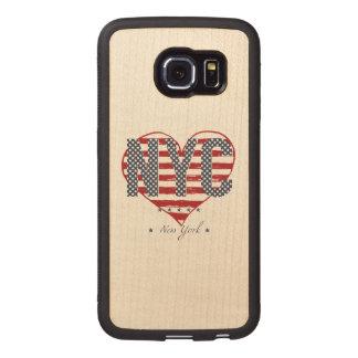 NYC American Flag Heart Wood Phone Case