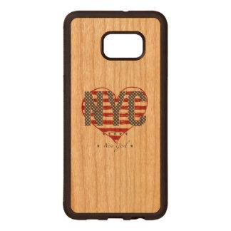 NYC American Flag Heart Wood Samsung Galaxy S6 Edge Case