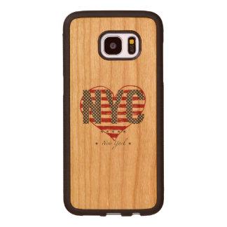 NYC American Flag Heart Wood Samsung Galaxy S7 Edge Case
