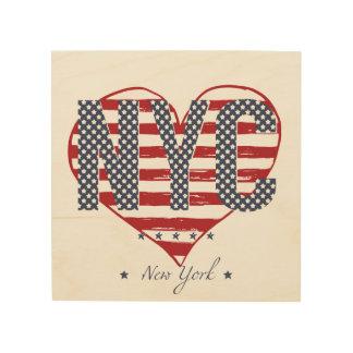 NYC American Flag Heart Wood Wall Art