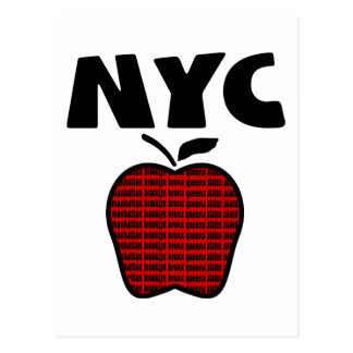 NYC - Big Apple With All 5 Boroughs Post Card
