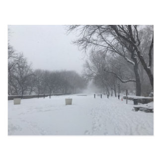 NYC Blizzard Upper West Side Riverside Park Snow Postcard