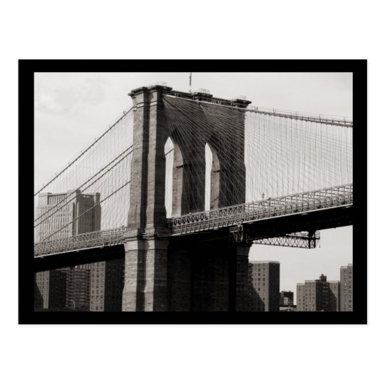 NYC Brooklyn Bridge Closeup Postcard