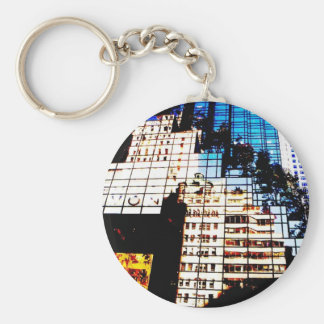 NYC Building Reflections Basic Round Button Key Ring