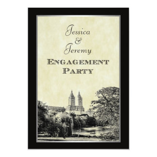 NYC Central Pk Lake San Remo Etched Frm Engagement Card