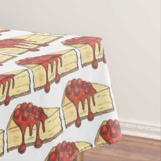 NYC Cherry Cheesecake Slice Dessert Foodie Baking Tablecloth