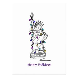 NYC Christmas Hanukkah Statue of Liberty Holiday Postcard