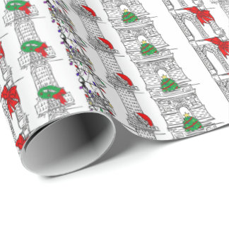 NYC Christmas Xmas New York Landmarks Gift Wrap