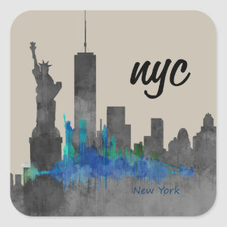 nyc cool skyline New York design. new! Square Sticker