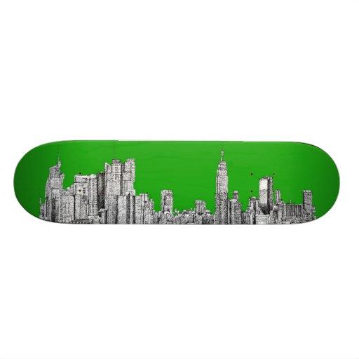 NYC drawing bright green Skate Board Decks