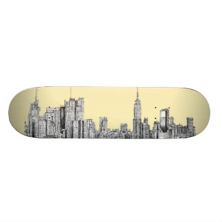 NYC drawing in cream ivory Skate Decks