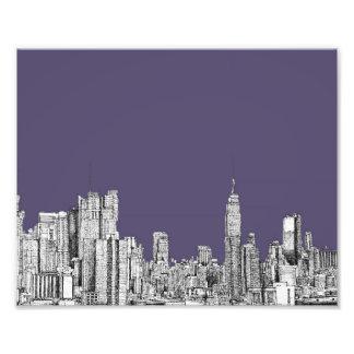 NYC drawing in lilac purple Photo Print