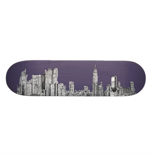 NYC drawing in lilac purple Custom Skate Board