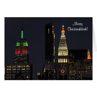 NYC Empire State Bldg In Christmas Hanukkah colors Greeting Card