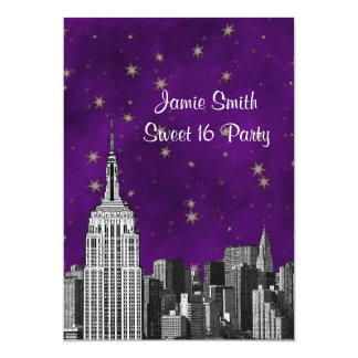 NYC ESB Skyline Etched Purple Starry Sweet 16 V Card