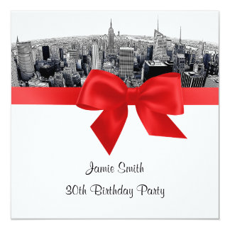 NYC Etched Fisheye Skyline BW Red Birthday SQ Card