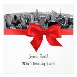NYC Etched Fisheye Skyline BW Red Birthday SQ Invitation